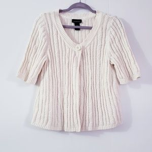 Lane Bryant Ribbed Knit One button Cream Cardigan
